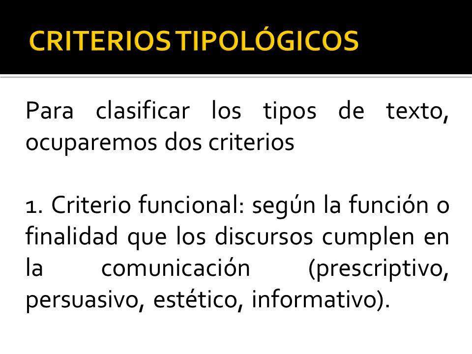 CRITERIOS TIPOLÓGICOS