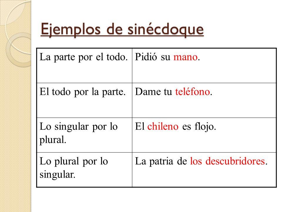 Ejemplos de sinécdoque