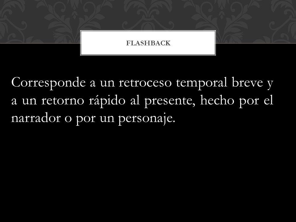 FLASHBACK Corresponde a un retroceso temporal breve y a un retorno rápido al presente, hecho por el narrador o por un personaje.