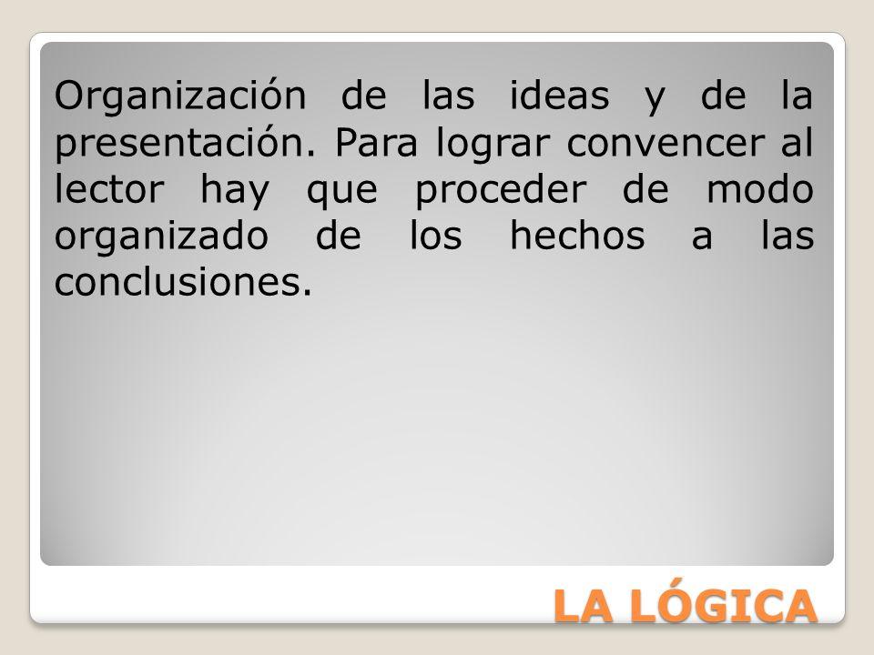 Organización de las ideas y de la presentación
