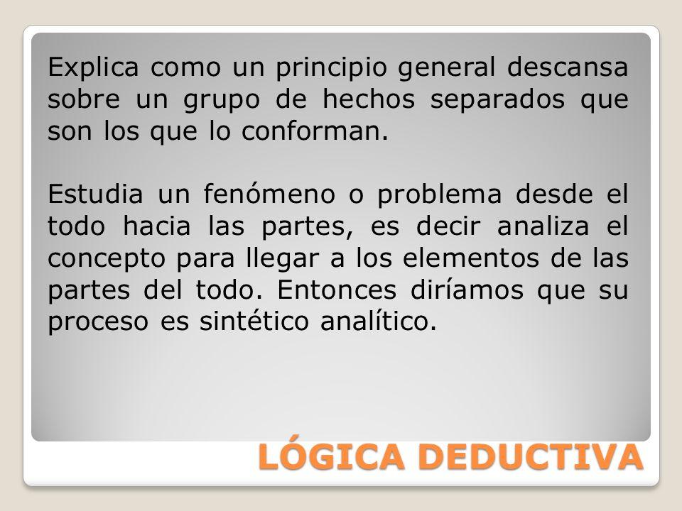 Explica como un principio general descansa sobre un grupo de hechos separados que son los que lo conforman.