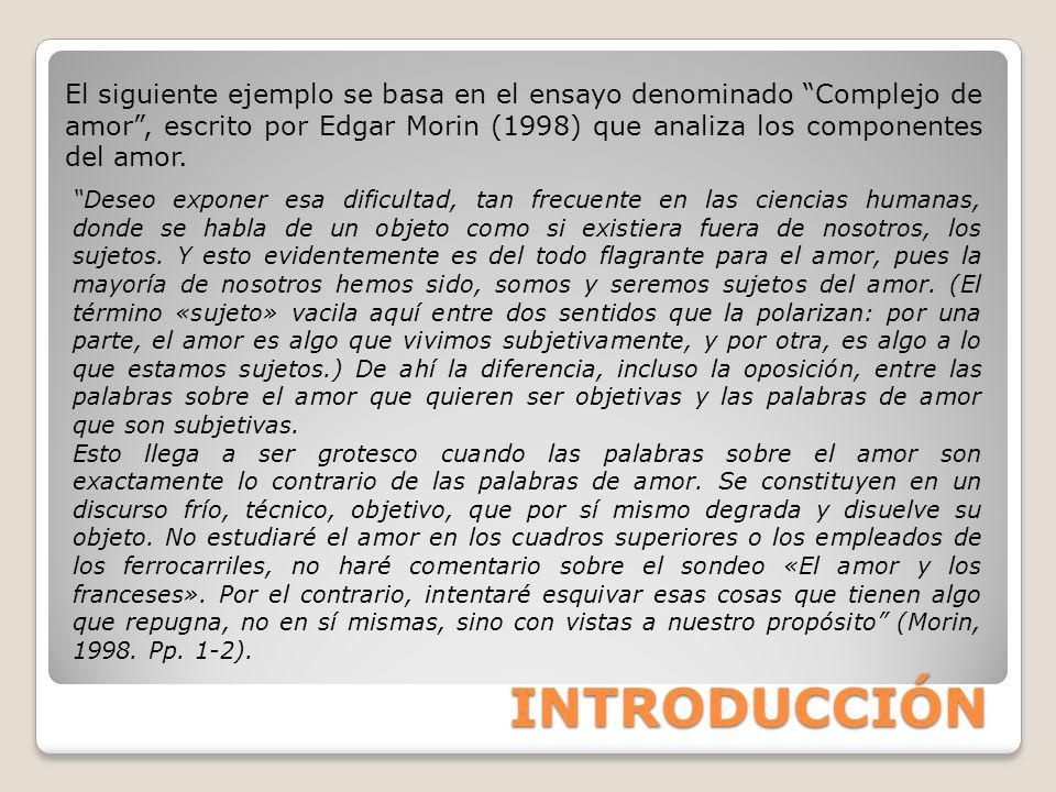 El siguiente ejemplo se basa en el ensayo denominado Complejo de amor , escrito por Edgar Morin (1998) que analiza los componentes del amor.