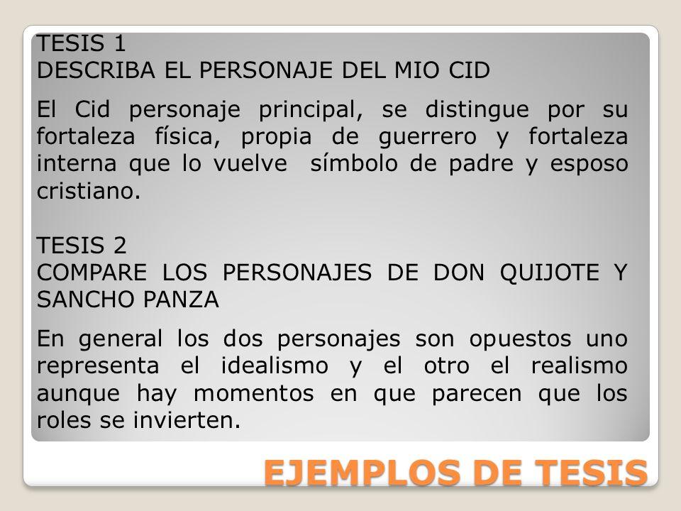 EJEMPLOS DE TESIS TESIS 1 DESCRIBA EL PERSONAJE DEL MIO CID
