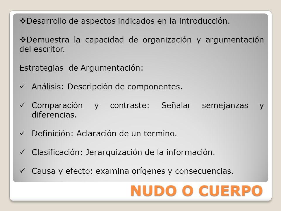 NUDO O CUERPO Desarrollo de aspectos indicados en la introducción.