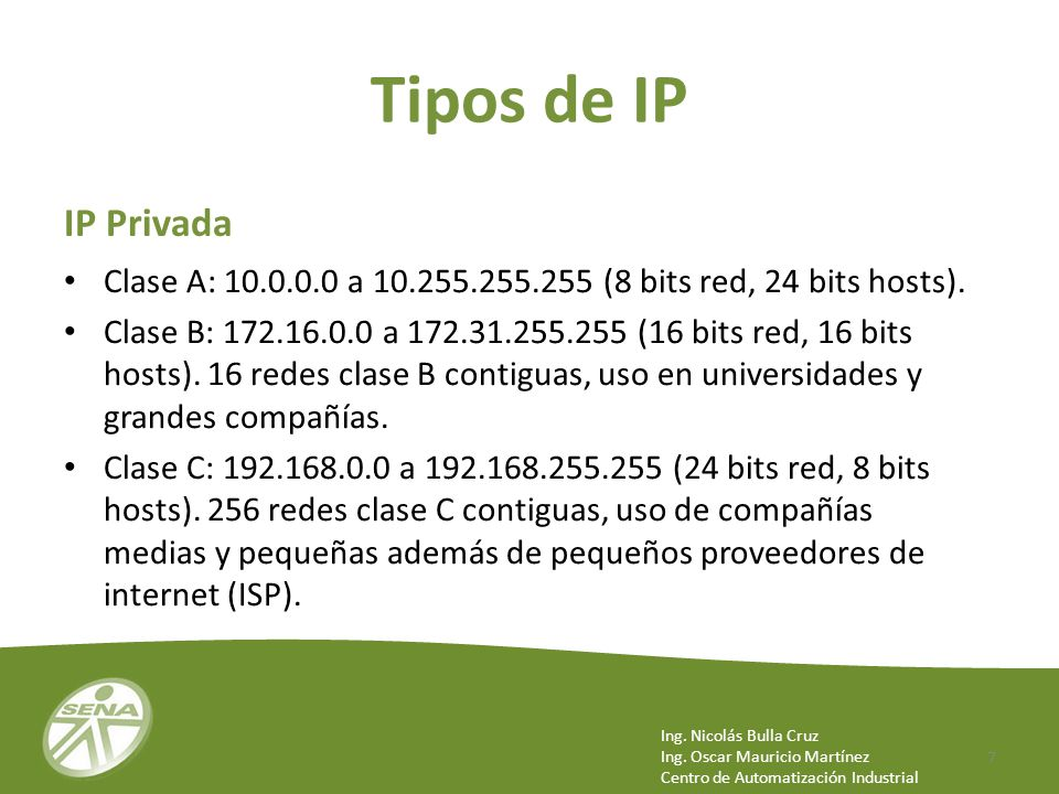 Tipos de IP IP Privada. Clase A: a (8 bits red, 24 bits hosts).