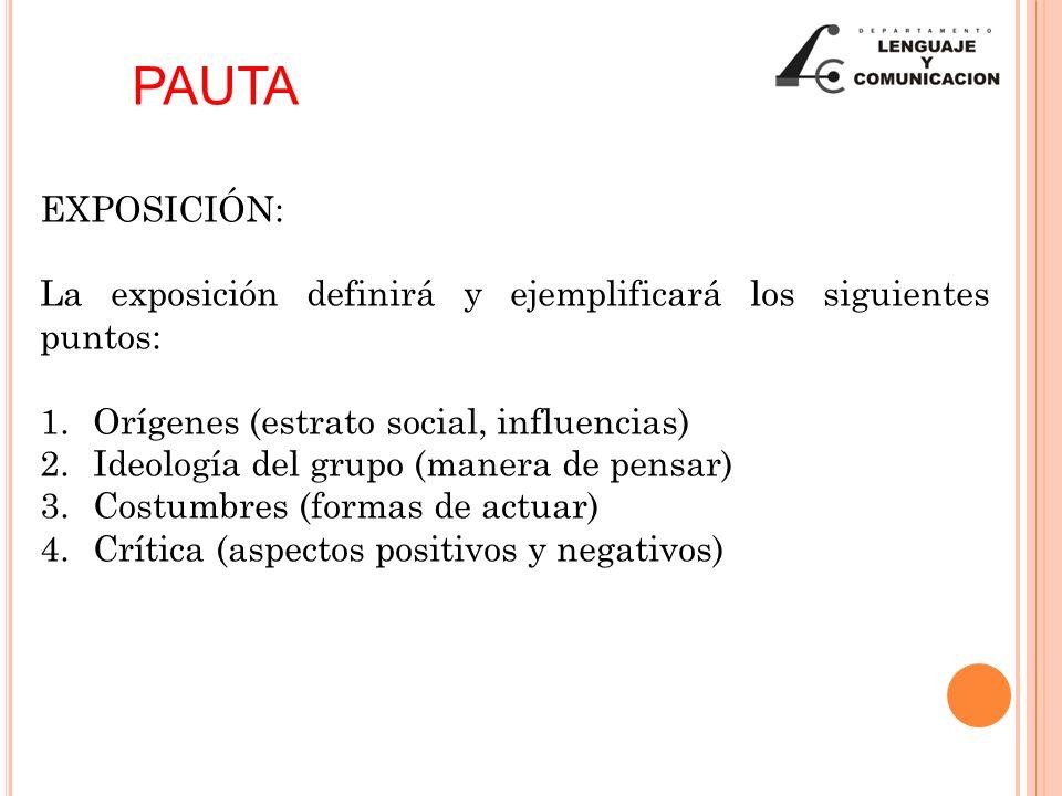PAUTA EXPOSICIÓN: La exposición definirá y ejemplificará los siguientes puntos: Orígenes (estrato social, influencias)