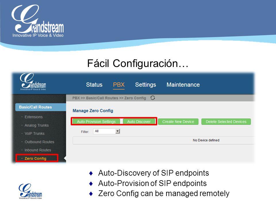 Fácil Configuración… Auto-Discovery of SIP endpoints