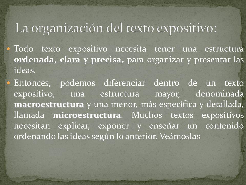 La organización del texto expositivo: