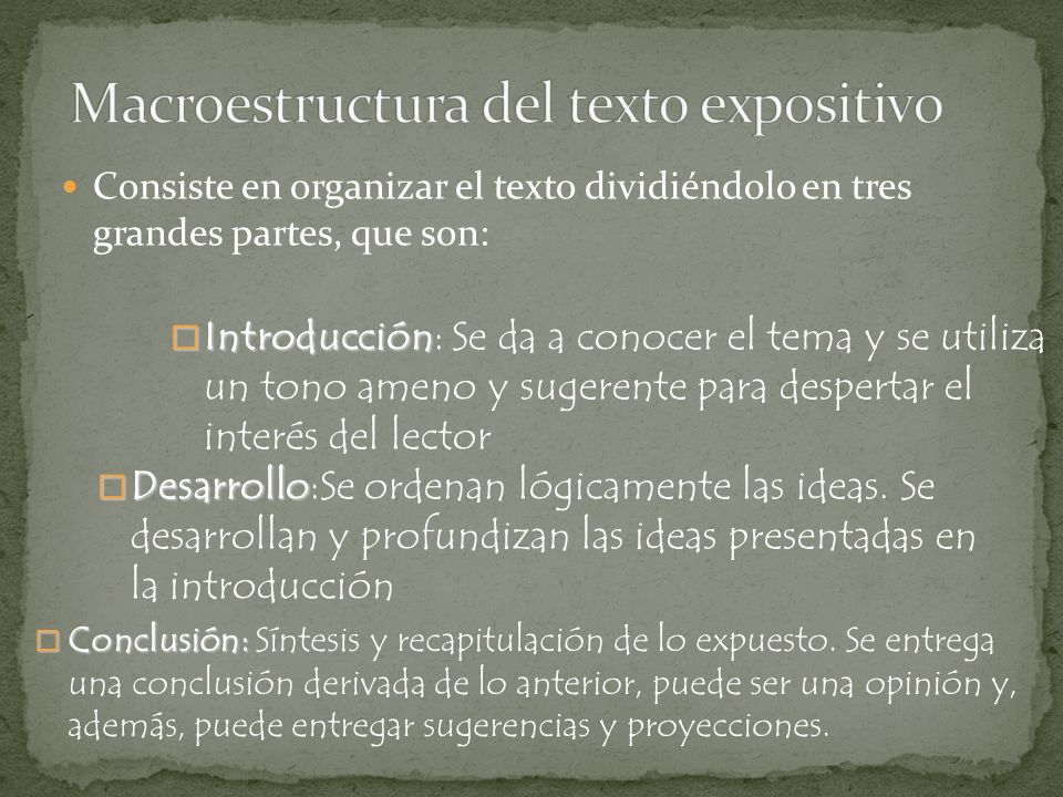 Macroestructura del texto expositivo