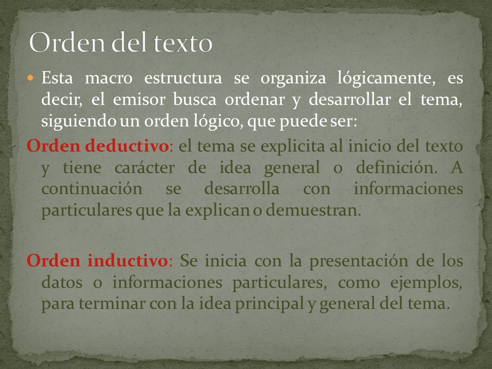 Orden del texto