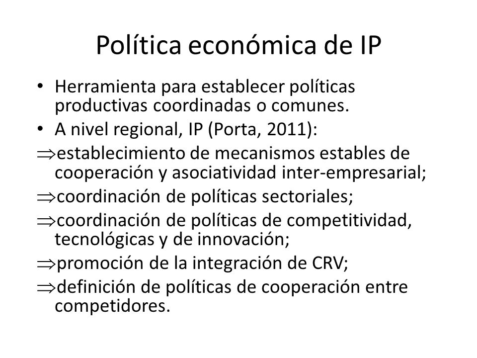Política económica de IP