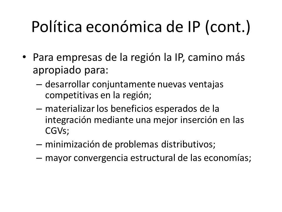 Política económica de IP (cont.)