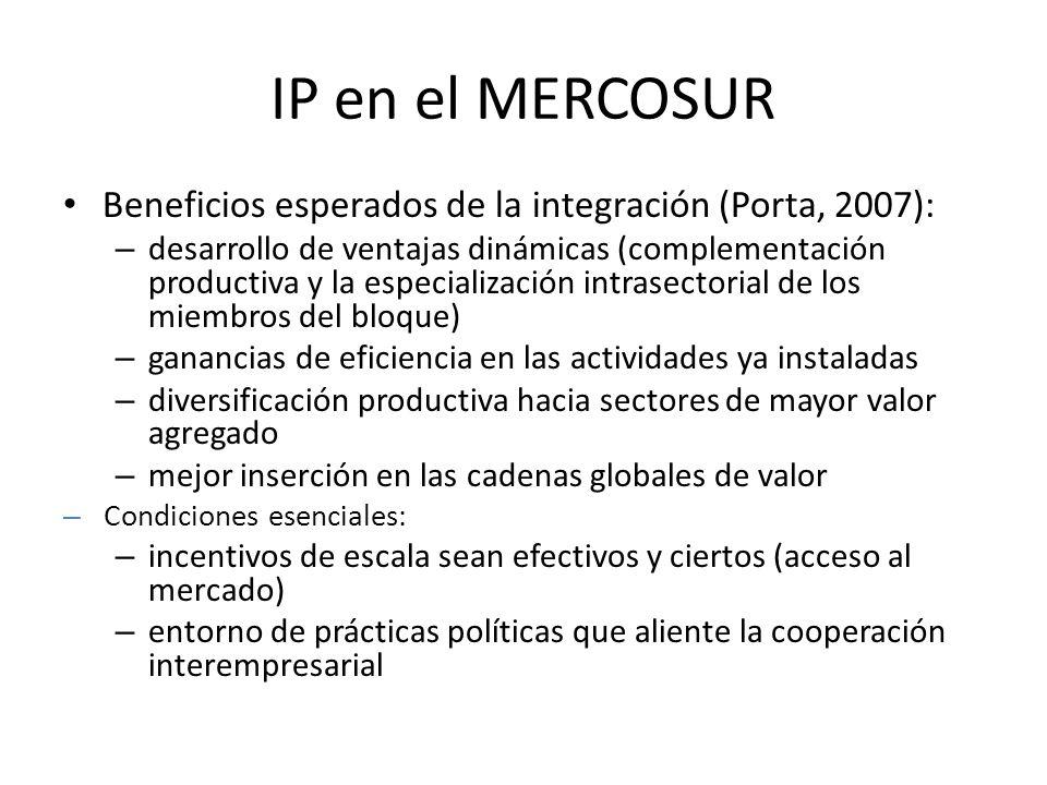 IP en el MERCOSUR Beneficios esperados de la integración (Porta, 2007):