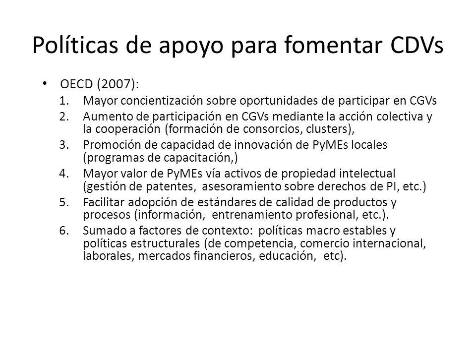 Políticas de apoyo para fomentar CDVs