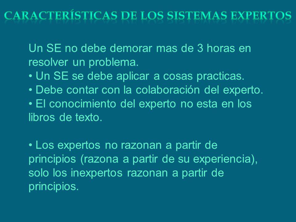 Características de los sistemas expertos