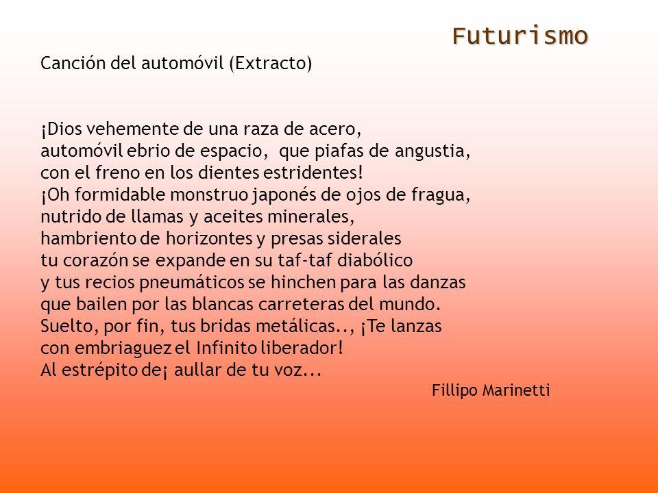 Futurismo Canción del automóvil (Extracto)