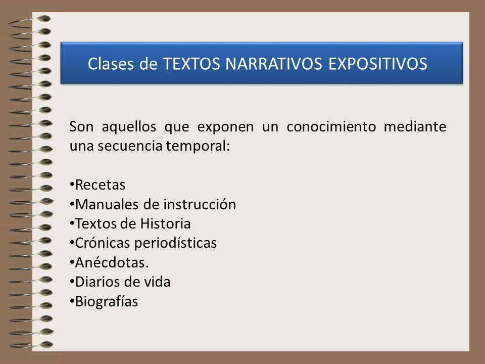Clases de TEXTOS NARRATIVOS EXPOSITIVOS