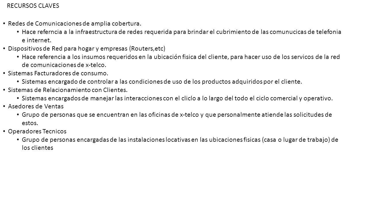 RECURSOS CLAVES Redes de Comunicaciones de amplia cobertura.
