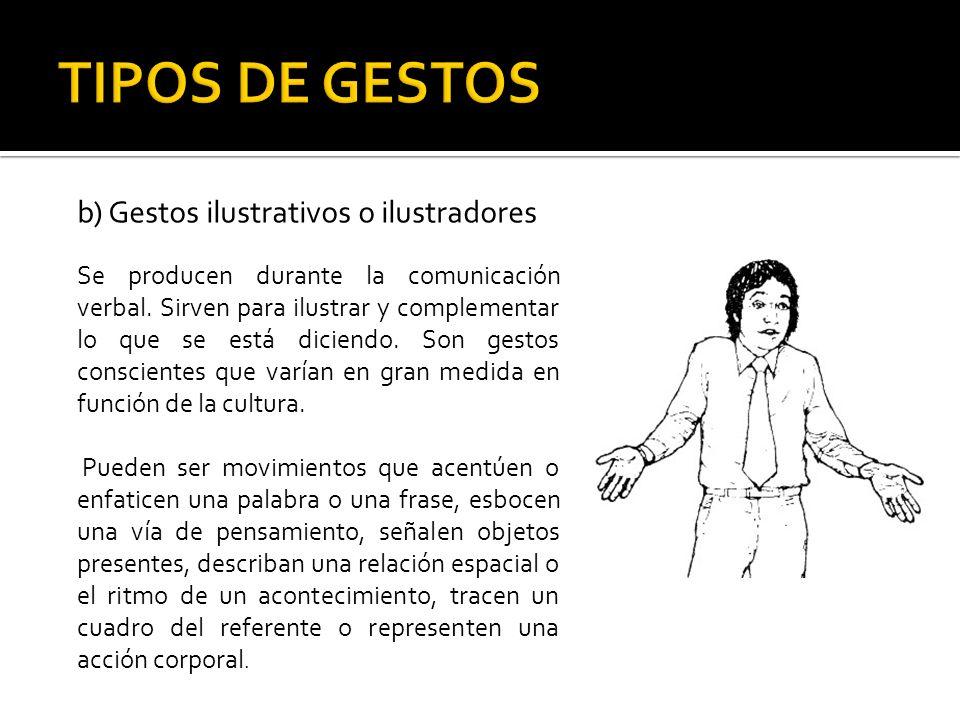 TIPOS DE GESTOS b) Gestos ilustrativos o ilustradores