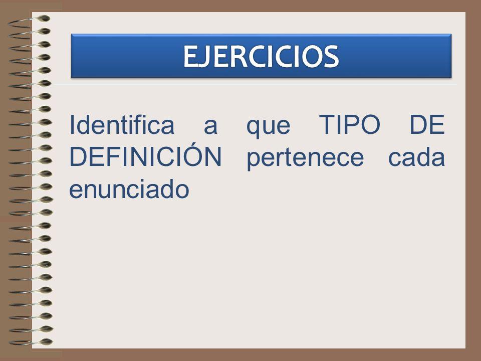 EJERCICIOS Identifica a que TIPO DE DEFINICIÓN pertenece cada enunciado