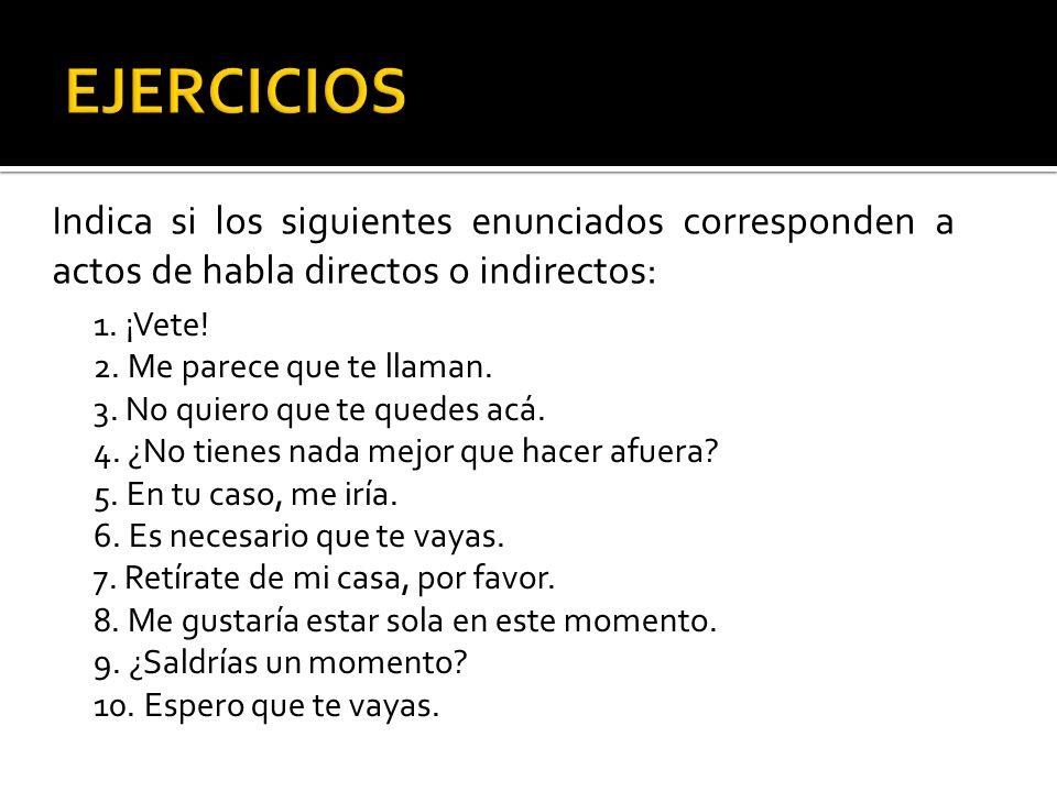 EJERCICIOS Indica si los siguientes enunciados corresponden a actos de habla directos o indirectos: