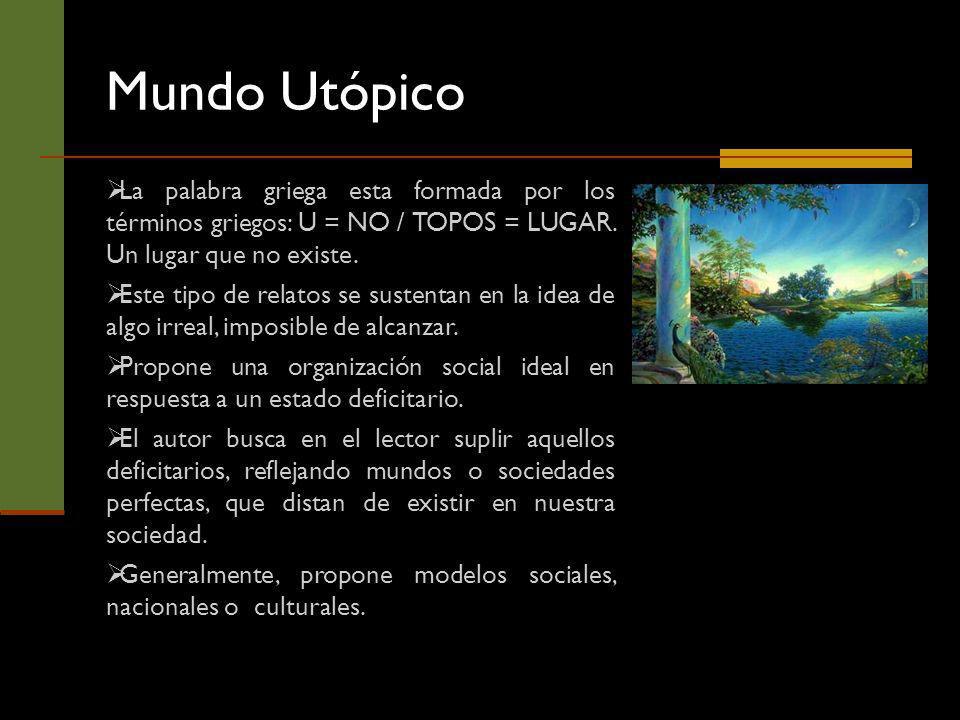 Mundo Utópico La palabra griega esta formada por los términos griegos: U = NO / TOPOS = LUGAR. Un lugar que no existe.
