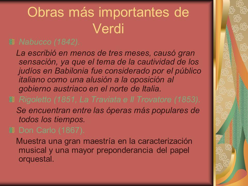 Obras más importantes de Verdi