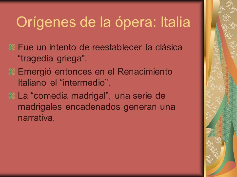Orígenes de la ópera: Italia