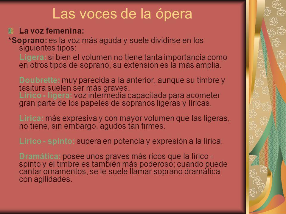 Las voces de la ópera La voz femenina: