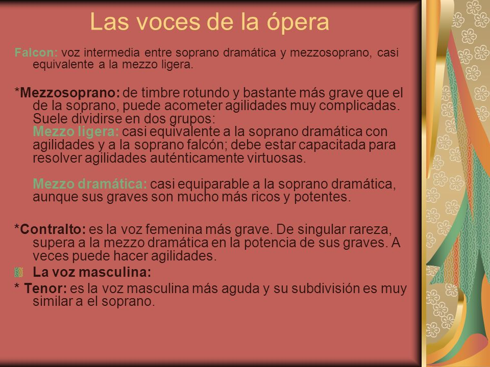 Las voces de la ópera Falcon: voz intermedia entre soprano dramática y mezzosoprano, casi equivalente a la mezzo ligera.