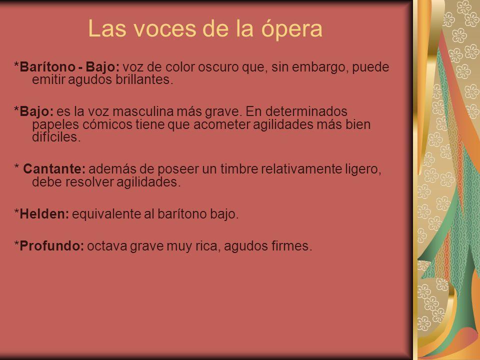 Las voces de la ópera *Barítono - Bajo: voz de color oscuro que, sin embargo, puede emitir agudos brillantes.