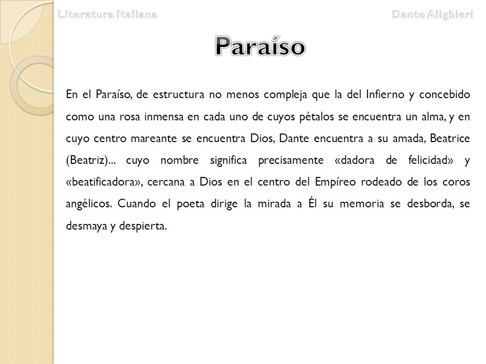 Literatura Italiana Dante Alighieri. Paraíso.