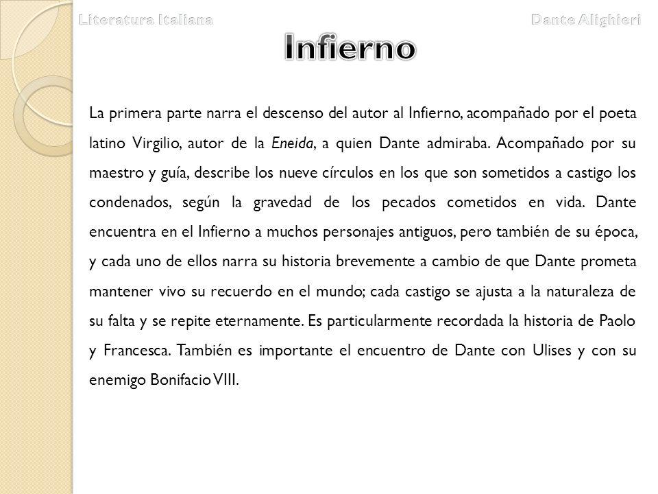 Literatura Italiana Dante Alighieri. Infierno.