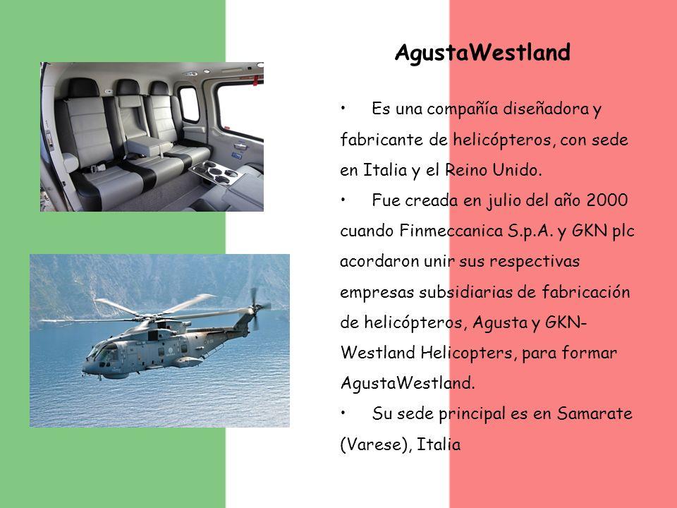 AgustaWestland Es una compañía diseñadora y fabricante de helicópteros, con sede en Italia y el Reino Unido.