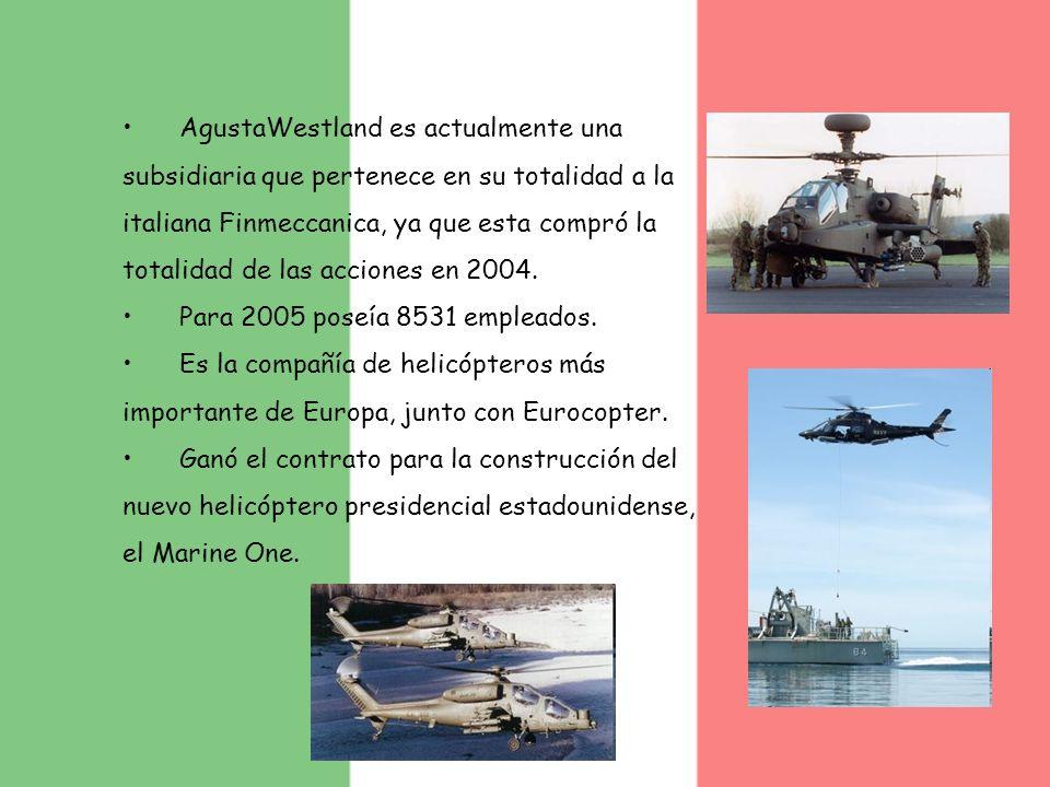 AgustaWestland es actualmente una subsidiaria que pertenece en su totalidad a la italiana Finmeccanica, ya que esta compró la totalidad de las acciones en 2004.