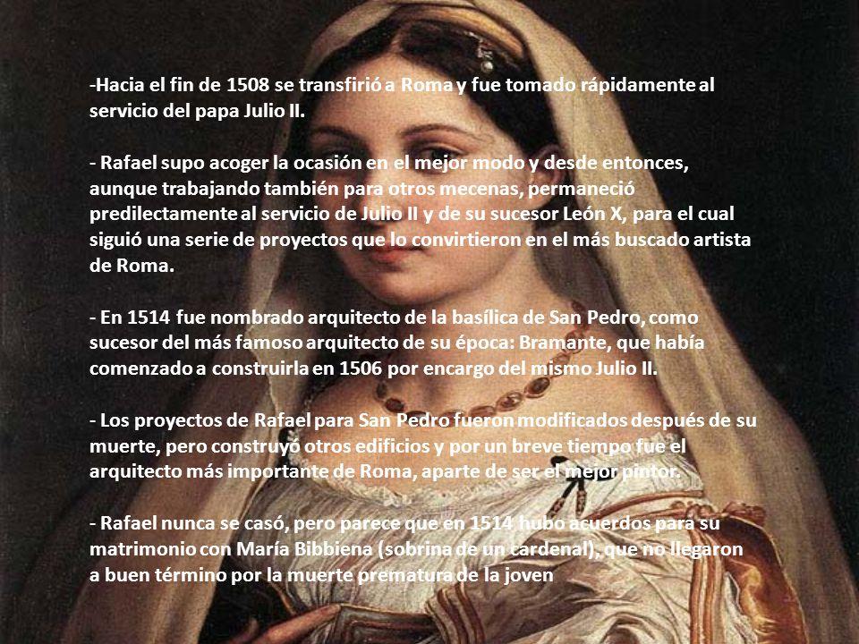 Hacia el fin de 1508 se transfirió a Roma y fue tomado rápidamente al servicio del papa Julio II.