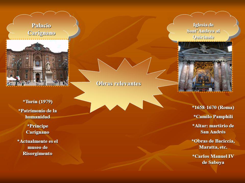 Palacio Carignano Obras relevantes