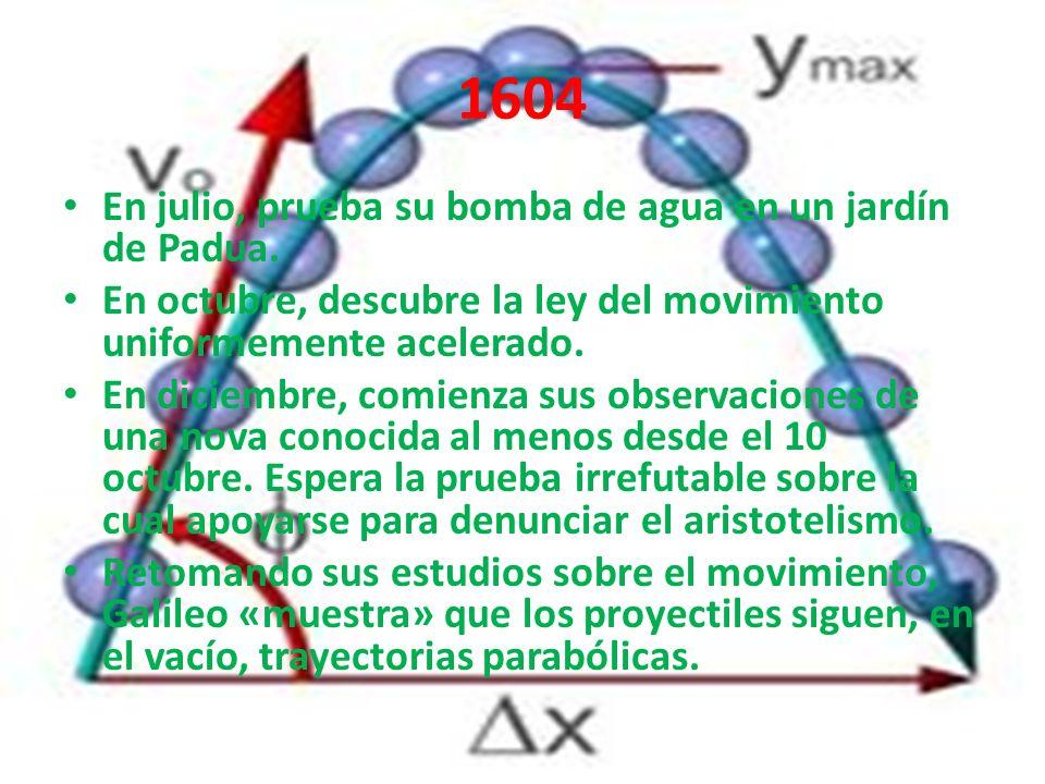 1604 En julio, prueba su bomba de agua en un jardín de Padua.