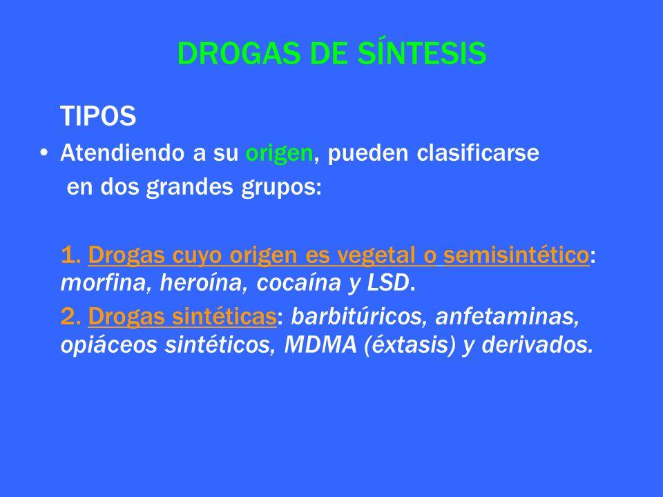 DROGAS DE SÍNTESIS TIPOS Atendiendo a su origen, pueden clasificarse