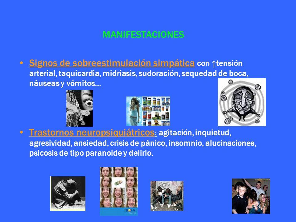 MANIFESTACIONES Signos de sobreestimulación simpática con ↑tensión arterial, taquicardia, midriasis, sudoración, sequedad de boca, náuseas y vómitos…