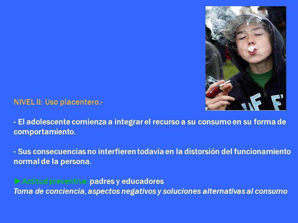 NIVEL II: Uso placentero.-
