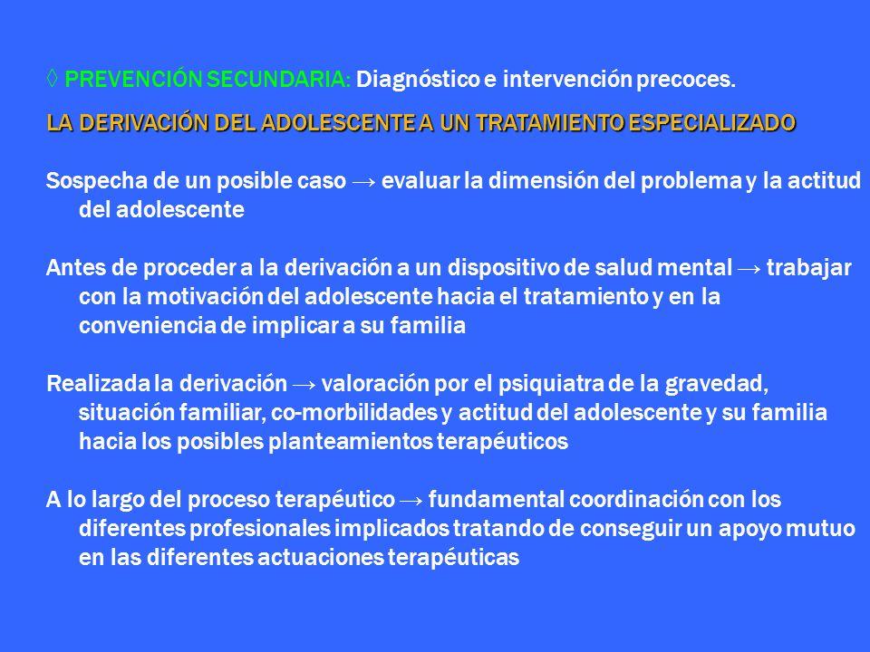 ◊ PREVENCIÓN SECUNDARIA: Diagnóstico e intervención precoces.