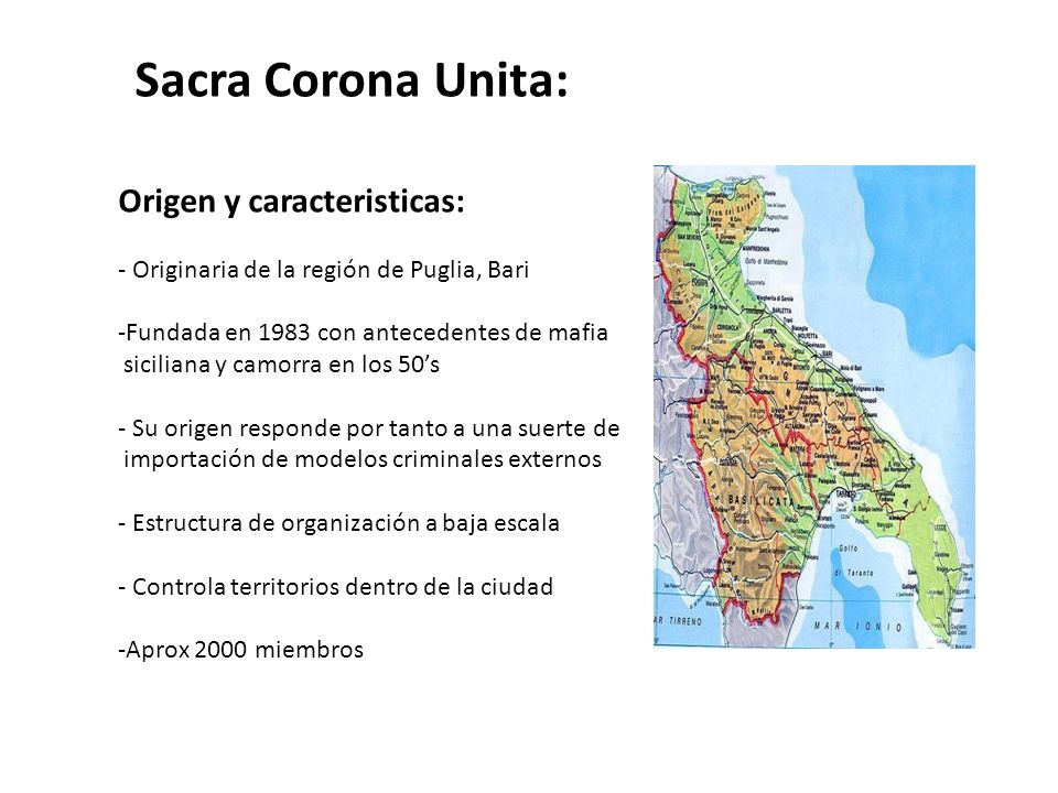 Sacra Corona Unita: Origen y caracteristicas: