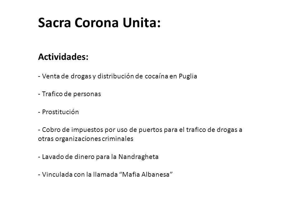 Sacra Corona Unita: Actividades: