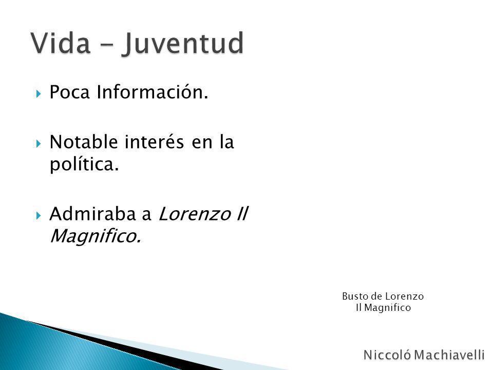 Vida - Juventud Poca Información. Notable interés en la política.