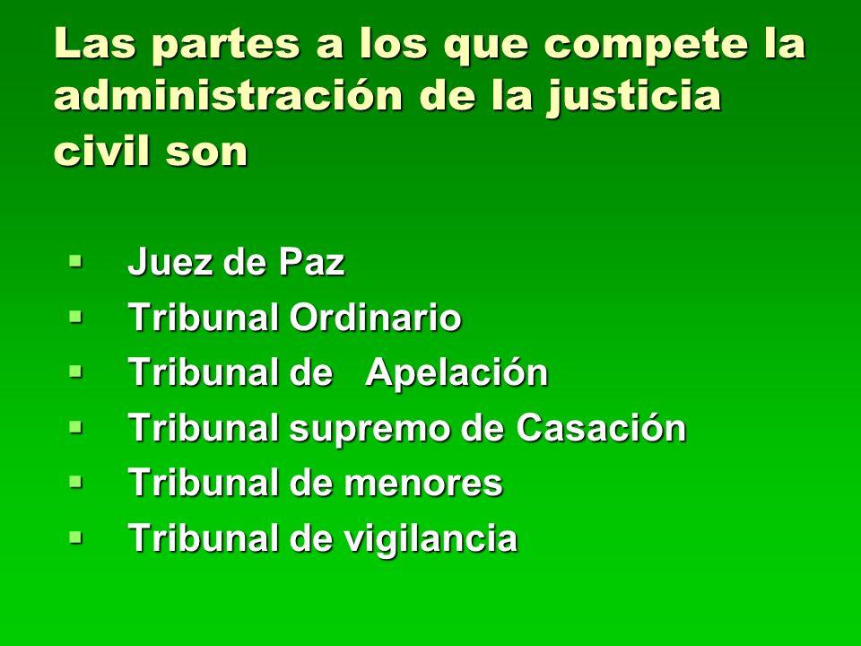 Las partes a los que compete la administración de la justicia civil son