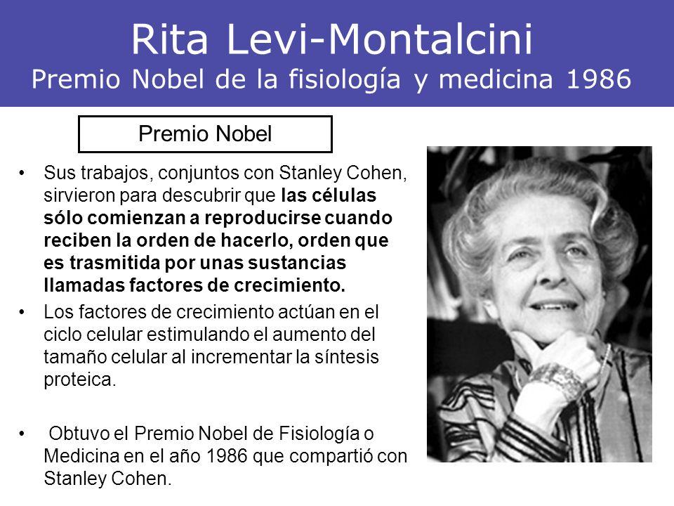 Rita Levi-Montalcini Premio Nobel de la fisiología y medicina 1986