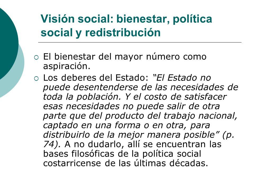 Visión social: bienestar, política social y redistribución