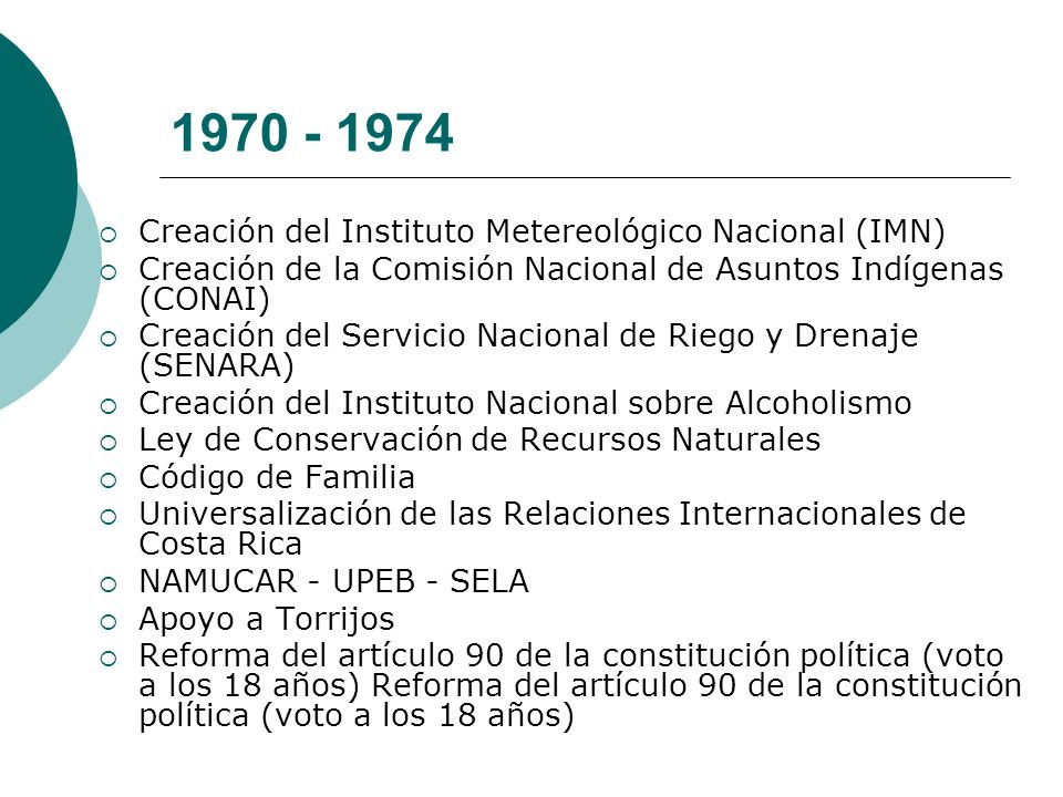 1970 - 1974 Creación del Instituto Metereológico Nacional (IMN)