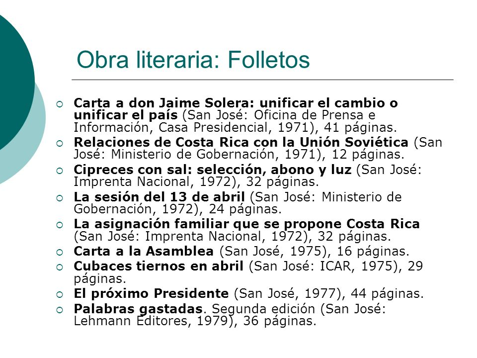 Obra literaria: Folletos